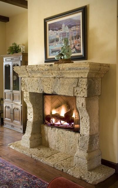 houzz outdoor kitchens orange kitchen rug antique stone fireplace mantels - mediterranean living ...