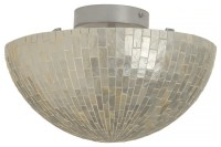 Round Semi-Flushmount Ceiling Lamp in Capiz Shell - Beach ...