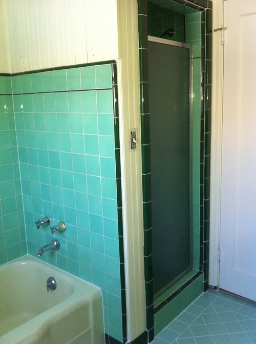 Painting Vintage Green Tiled Bathroom