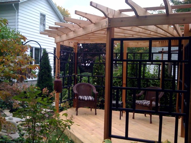 asian inspired pergola  Asian  Patio  new york  by The