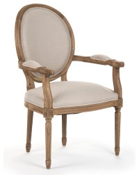 Madeleine French Country Louis XVI Linen Oval Dining Arm ...
