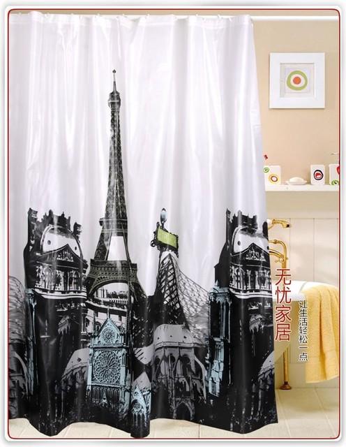 Paris Eiffel Tower Pattern EVA Shower Curtain  Contemporary  Shower Curtains  by sinofaucet