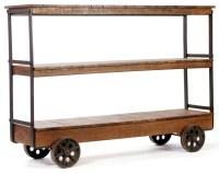 Bradbury Three Shelf Rustic Trolley Console - Industrial ...