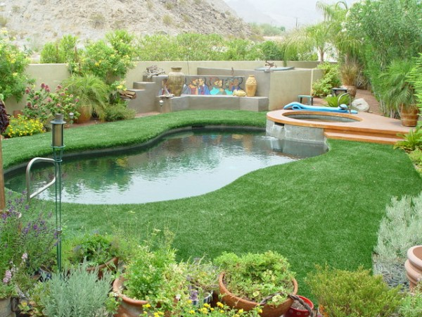 poolside landscaping - contemporary