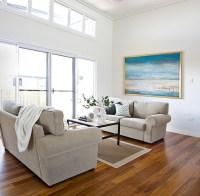 Contemporary Coastal Home - Beach Style - Living Room ...