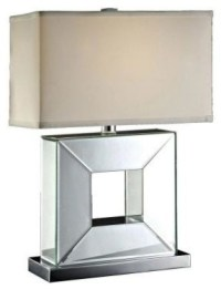 Metal Lamps: 24.25 in. Chrome Square Mirrored Table Lamp ...