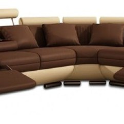 Beige And Brown Leather Sectional Sofa With Built In Footrests Red River Reclining Loveseat Reviews Built-in ...