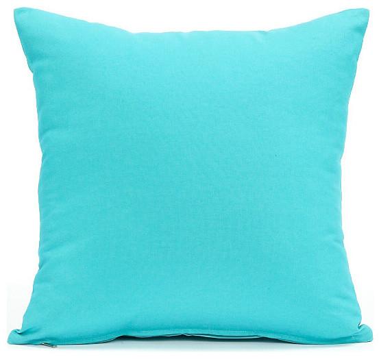 Solid Aqua Blue Accent  Throw Pillow Cover 16x16