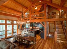 Timber Frame in the Mountains - Rustic - Dining Room ...