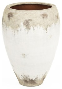 Siena Large White Rustic Distressed White Ceramic Wide Top ...