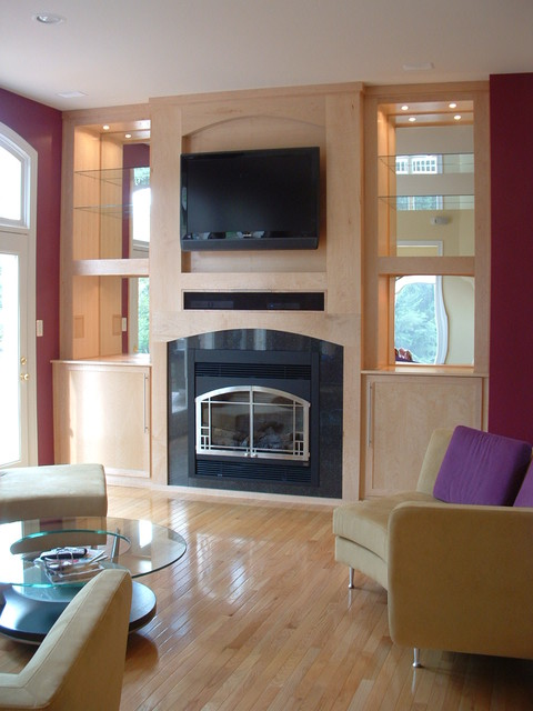 Custom Fireplace Screens Decorative Fireplace Screens Studio Birds-eye Maple Built-in Entertainment Center With
