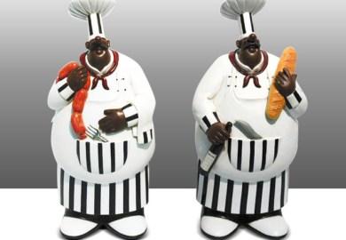 Black Fat Chef Kitchen Decor