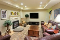 Traditional Basement Remodel with tray ceiling, engineered