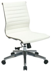 Mid Back White Leather Office Chair - Modern - Office ...