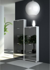 Double Modern Shoe Rack with Folding Mirrored Doors ...