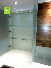 Glass wall unit - Walnut Kitchen - Richmond, London ...