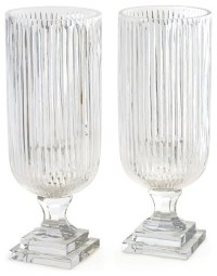 Prismatic Glass Hurricane Lamp Lantern, Set of 2 Candle