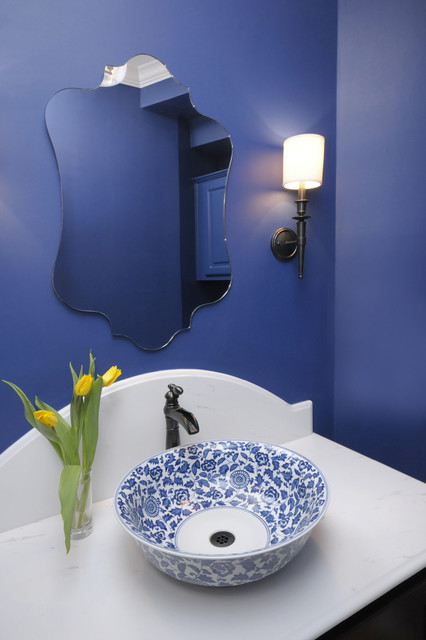 Blue Powder Bath Remodel traditional powder room