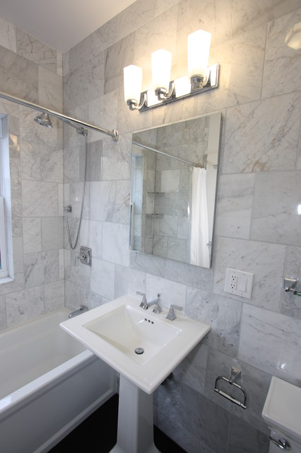 decorating a long narrow living room wall canvas andersonville marble bathroom eclectic-bathroom