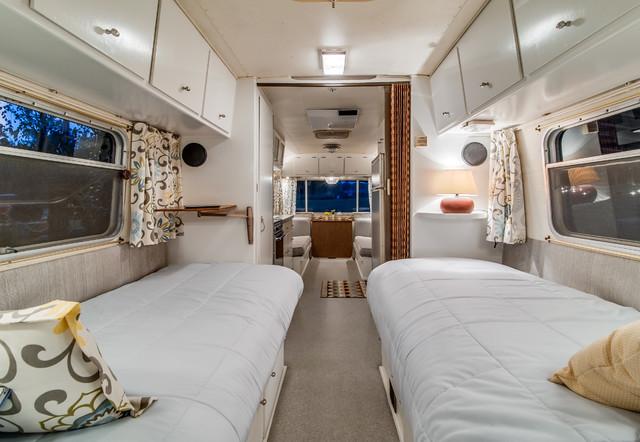 72 Avion Camper Renovation Midcentury Bedroom