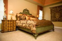 Tuscan Coral and Green Master Bedroom - Mediterranean ...