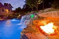 Backyard Swimming Pool Waterfall & Fire Pit Design- Bergen ...