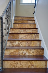 Gold Travertine Tiles - Traditional - Staircase - tampa ...