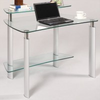 Clear Glass Computer Desk - Modern - Desks And Hutches