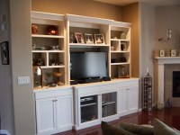 White lacquer entertainment center
