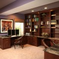 Finished basement bar and home office traditional home office