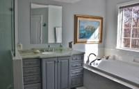 Pebble grey bathroom cabinets