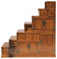 Oriental Japanese Style Step Tansu Cabinet