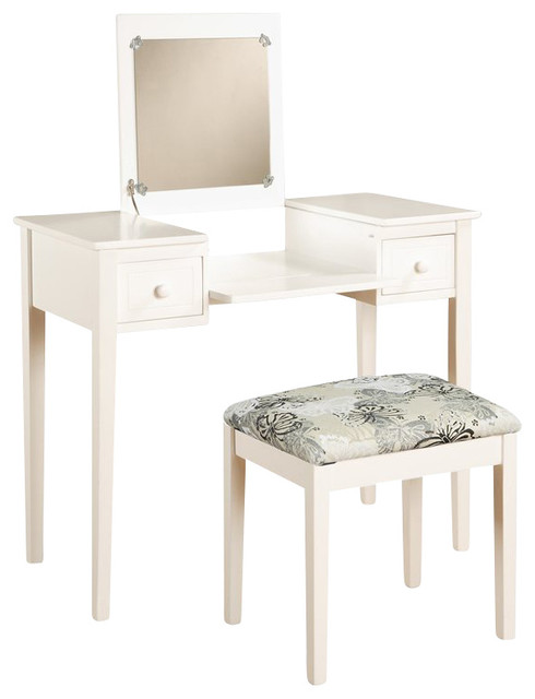 Linon Vanity Set with White Butterfly Bench in White