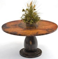 Copper Dining Table - Wood Pedestal Base traditional ...