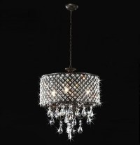 Antique Bronze 4-light Round Crystal Chandelier ...