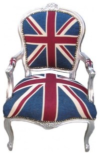 Beatrix French Louis XV Style Chair in Union Jack, Silver