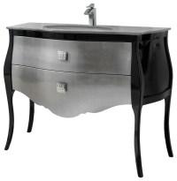 """44"""" Paris Bathroom Vanity. Black-Silver lacquered ..."""