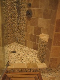 Island Stone pebble bathroom design - Rustic - Wall And ...