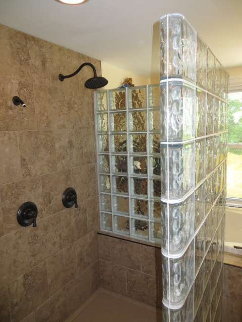 kitchen remodeling st louis hands free faucet glass block walk in shower - contemporary by ...