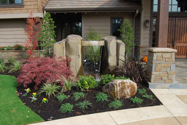 Entry Fountain  Transitional  Landscape  portland  by