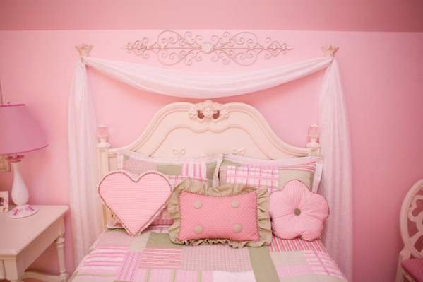 little girls pink bedroom with canopy bed Pretty in Pink Little Girls Bedroom - Traditional - Kids - other metro - by Cheryl Hucks