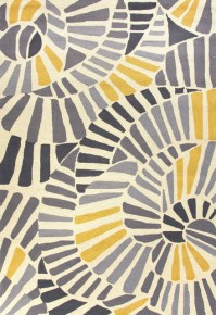 Abstract Pattern Polypropylene Yellow/Gray Indoor-Outdoor ...