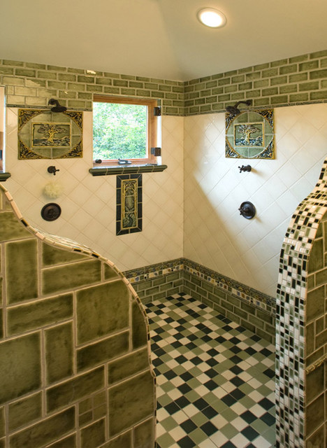 Fun Arts and Crafts shower  Eclectic  Bathroom