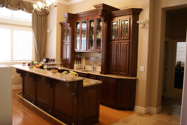 Custom built in bar after  Traditional  Family Room  las vegas  by Platinum Cabinetery
