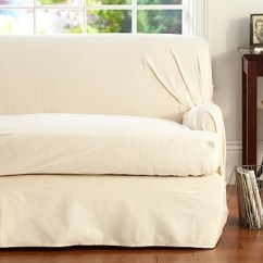 One Arm Sofa Slipcover Futon Bed Dimensions Twill T-arm Cushion Separate Seat Tailored Loose-fit ...