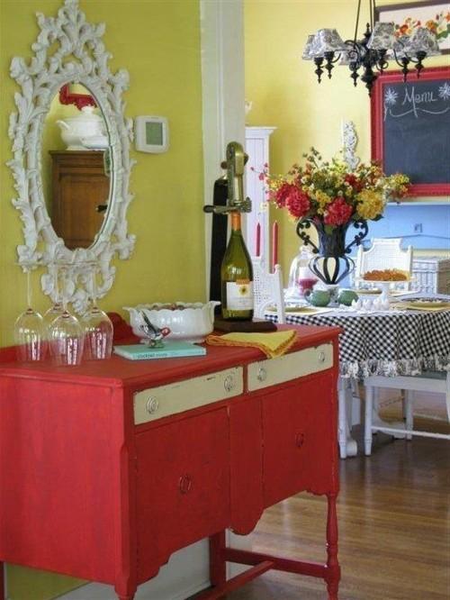 Colorful Cottage Decorating Ideas In Redyellowblueblack