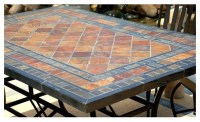 STONE GARDEN PATIO MOSAIC SLATE TABLE 78""