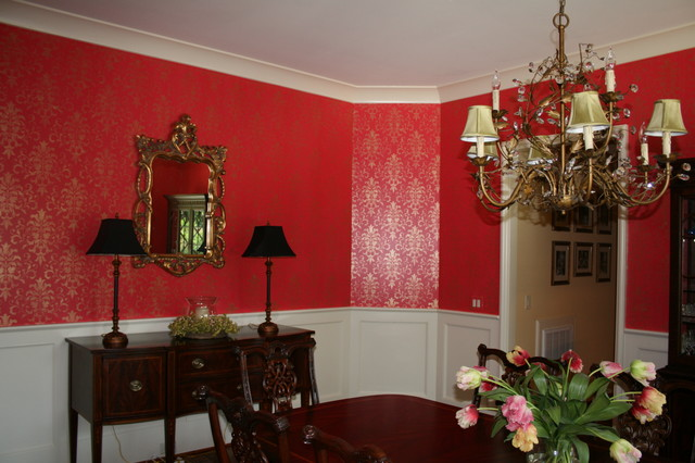 Damask Stencil  Traditional  Dining Room  raleigh  by
