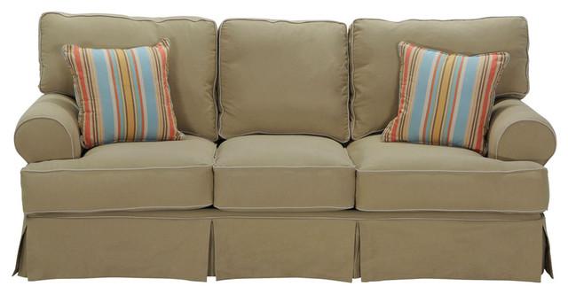 Classic Khaki Slipcover Sofa  Traditional  Living Room