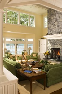 New England Island Home - Beach Style - Living Room ...